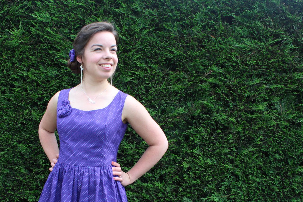 Robe violette à pois turquoises - Les lubies de louise (3 sur 9)