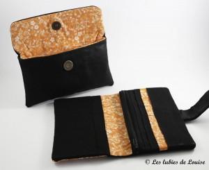 commande personnalisée portefeuille étuis lunette simili cuir noir et orange - Les lubies de Louise (7 sur 7)