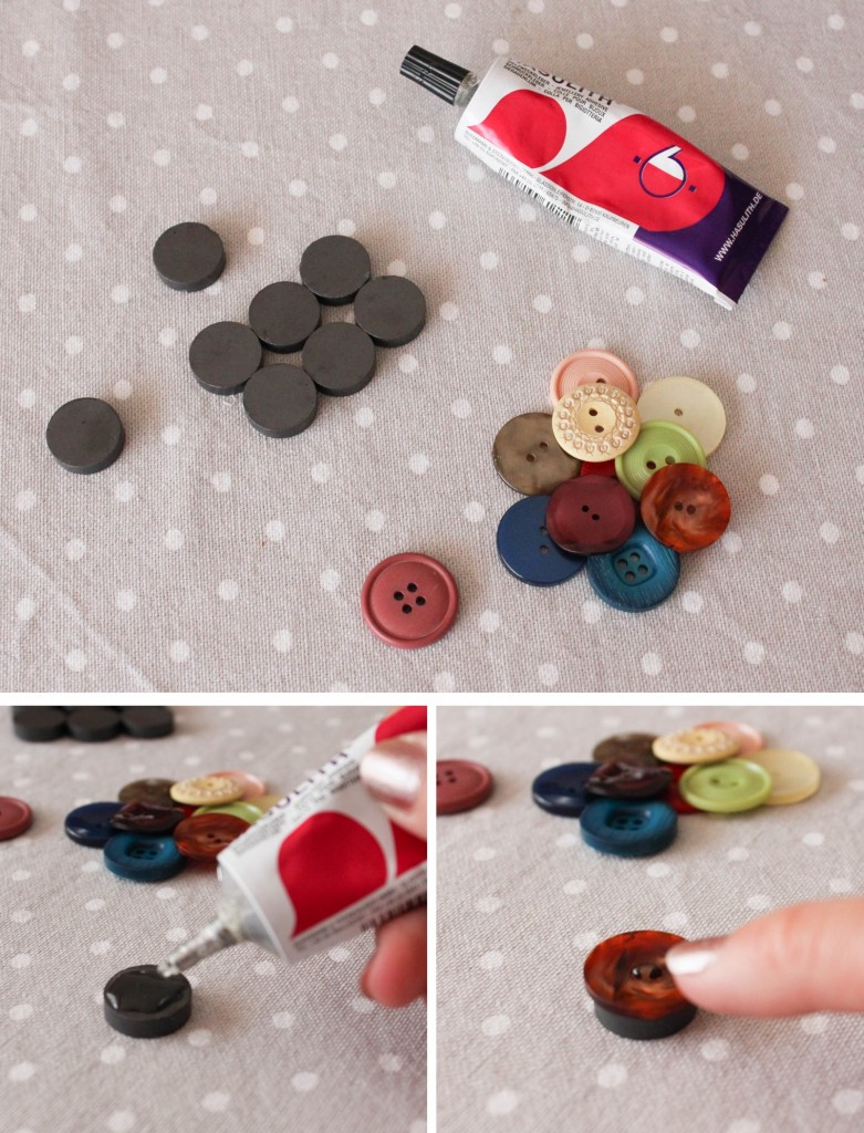 diy déco couture aimants boutons montage- Les lubies de louise