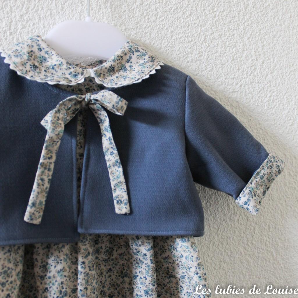 Ensemble robe et gilet de bébé - les lubies de louise-3