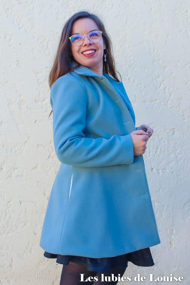 Manteau Nuage bleu cousu main