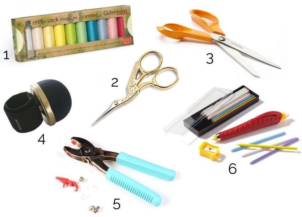 idee cadeau pour couturiere mercerie : fils, ciseaux, pique épingle, craie, pince