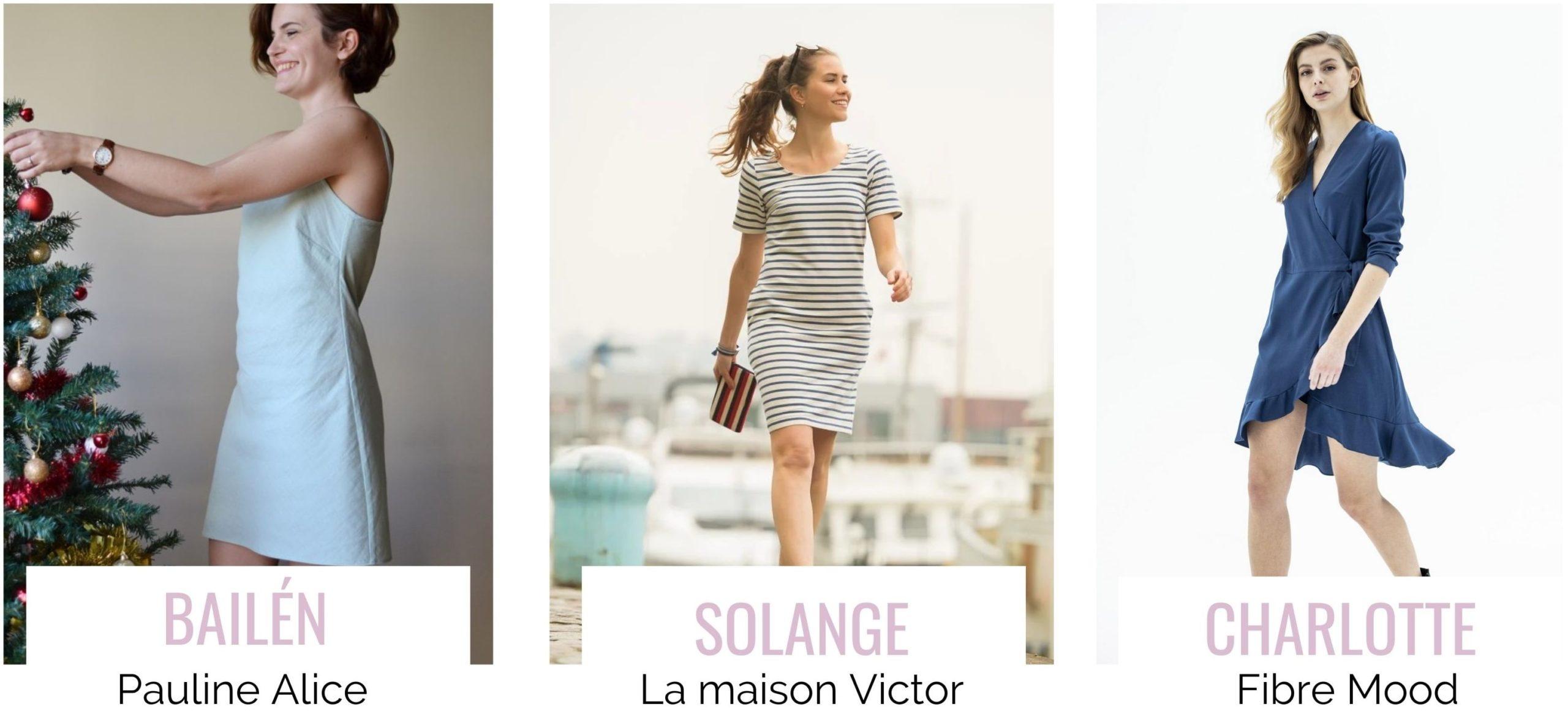 3 modèles de robe gratuits : Bailèn, solange et charlotte